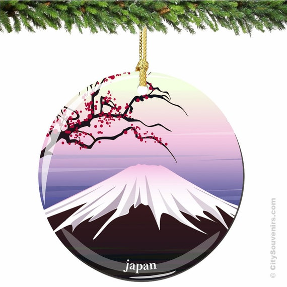 Mount Fuji Japan Christmas Ornament With Cherry By