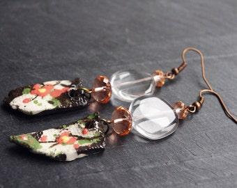 Clear Sakura Cherry Blossom earrings / Spring Flower jewelry / Japanese style / Women's gift