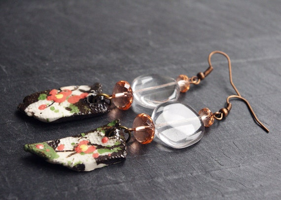 Clear Sakura Cherry Blossom earrings / Spring Flower jewelry / Japanese style / Women's gift