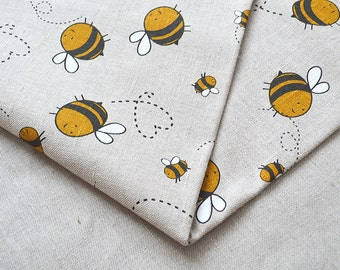Linen yellow bee fabric 19,68 x 59 inch
