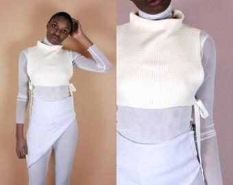 White Crop Top Sweater Vest + Sheer Top Turtleneck Set // Vintage Crop Top Knit Sweater Vest Vintage Turtleneck 90s Crop Top Sheer White Top