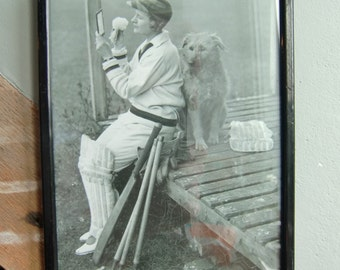 Print of a Lady Cricketer in Vintage Frame