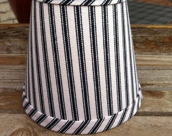 Classic Black and cream ticking stripe chandelier lampshade cottage lampshade