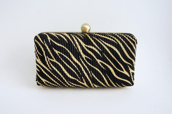 Gorgeous Black & Gold Minaudiere Box Clutch - Evening/Bridesmaid/Prom Purse - Includes Crossbody Chain - Ready to Ship