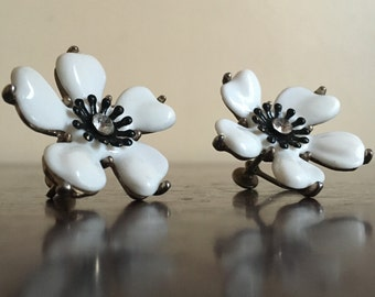 Vintage Black and White Enamel Screw Earrings