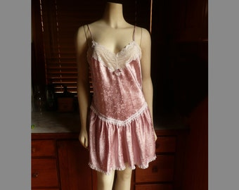 Vintage 80s Christian Dior Lingerie Dusty Rose Pink Lace Satin Floral Embossed Nightie Slip S