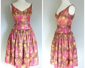Vintage BROCADE PARTY DRESS/size Small-Medium
