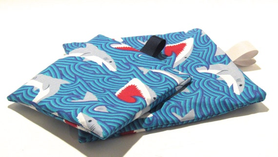 Reusable Snack Bag, Shark Bag, Reusable Sandwich Bag, Reusable Bag, Lunch Bag, Shark Week Bag
