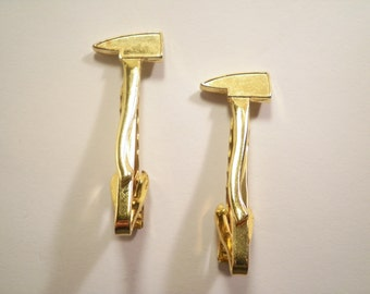 2 Goldplated Fireman's Lumberjack's Tie Clips