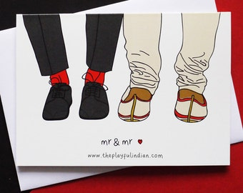Indian Wedding/Celebration Greetings Card - Gay Wedding - Mr & Mr - Shoes
