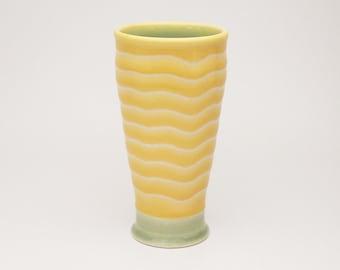 wheel thrown turquoise and yellow pint tumbler with white stripes. Pottery cup. Ceramics. Beer glass. iced tea. Cocktail glass