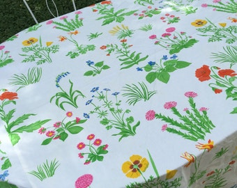 Vibrant Floral tablecloth Huge oblong Vera Neumann INSPIRED shabby cottage cotton botanical picnic patio Spring flower power bedspread
