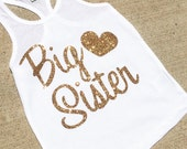 Big sister top, shirt Girls Sparkle glitter tank top perfect gift
