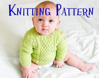 PDF Knitting Pattern - Timberline Pullover, Infant Sweater, Baby Toddler Knitting Pattern, Baby Jumper Pattern, Cabled sweater pattern