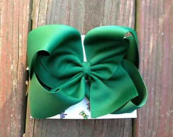 Ready to Ship Large Forest Green Boutique Hair Bow