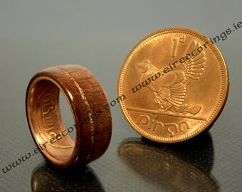 Mans wood wedding band Mahogany with copper inlay