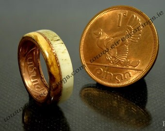 Irish coin ring Jameson whisky barrel wood with deer antler