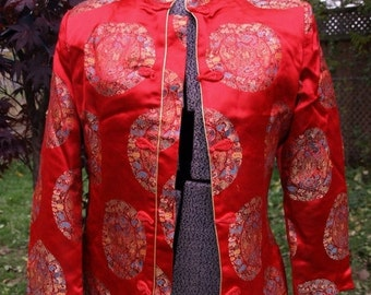 SALE SALE Asian quilted lined Red Jacket,vintage w/ padded shoulders brocade buttons