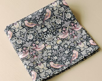 Mens pocket square - Liberty tana lawn Strawberry Thief - William Morris design - black pocket square - grey pocket square