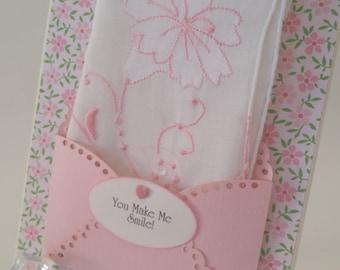 Vintage Appliqued Handkerchief Pink Friendship Thinking Of You Hanky Keepsake Greeting Card