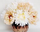 RESERVED FOR LYNNE:  Custom Artificial Flower Arrangement, Dark Cream Peonies, Cream Mums, Brown/Copper Vase, Silk Flower Arrangement