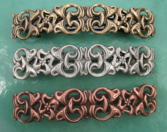 SCULPTED METAL French Barrette Clip 80mm-Hair Accessories- Barrettes and Clips-Silver BarretteLarge Barrette