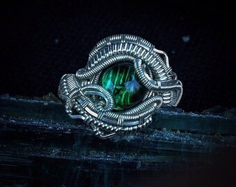 Green Tourmaline Sterling Silver Ring Size 7 1/2