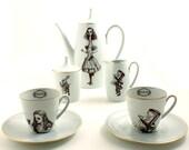 2 Person Alice in Wonderland Espresso Coffee Set Altered Vintage Teapot Cups Sugar Pot Creamer Unique Porcelain Tea Party Brown White