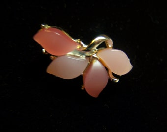 """Pretty Vintage Pink & Silver Small Brooch Pin 1.25"""" Repurposed"""