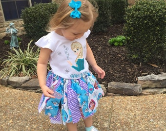 Frozen Elsa Applique Monogram Ruffle Shirt and Matching Shabby Chic Fabric Tutu Skirt First Elsa Birthday Disney Princess Trip Vacation