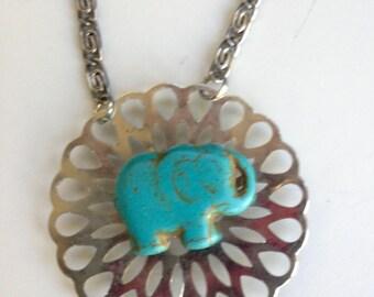 Elephant Necklace, Blue Elephant Necklace, Blue Howlite Elephant Jewelry