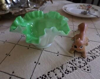 Gorgeous Victorain Lime Green & White Milk Glass Brides Basket Insert/Bowl/Dish/Candy-Ruffled/Dots