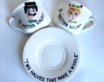Vintage Better Half Coffee Cup Set