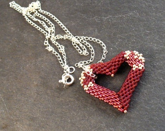 Red Silver Heart Jewelry, Floating Heart Necklace, Romantic Jewelry, Beaded Heart Necklace, Love Heart Pendant, Modern Open Heart - Etsy UK
