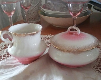 Antique Porcelain Victorian Shaving Mug and Covered Soap Dish 1900s