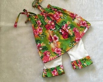 Hawaiian, floral,ruffle short set,embroidered halter top, Boutique Style, ruffle short Set size NB 3  6 9 12 24 months, size 2 3 4 5T