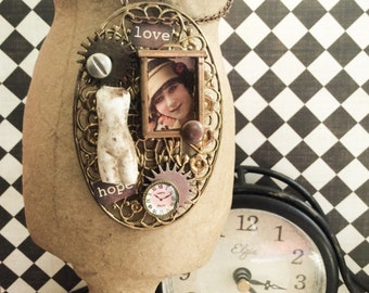 My Sisters Attic A Mixed Media Doll Pendant Necklace