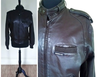 Vintage Members Only Jacket Brown Leather Bomber Jacket Mens Size 40 1980s