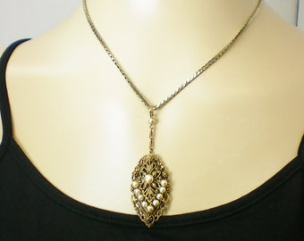 Antiqued gold filigree & pearl necklace, Recycled jewelry, Handmade jewelry, Repurposed jewelry, Upcycled, Free USA shipping, Made in USA/MI