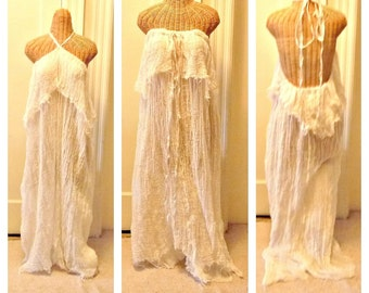 Backless Halter Dress Beach Gown Strapless Convertable White or Cream Custom Bridal Wedding One Size Womens Cotton Gauze Plus