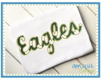 INSTANT DOWNLOAD 3188 Eagles Script applique digital design for embroidery machine by Applique Corner