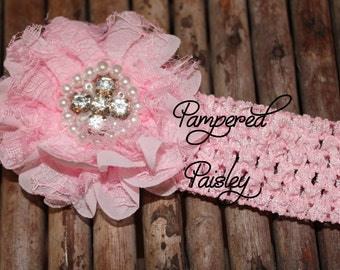 Baby Headband, Shabby Headband,  pink lace Headband, crochet Headband, Infant Headband, Wedding Headband, skinny Headband, Flower Headband