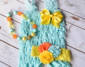 Aqua Romper, Cake Smash Outfit Girls, Baby Girl 1st Birthday Outfit, Lace Romper, Baby Headband, 2nd Birthday Outfit Girls, Smash Cake