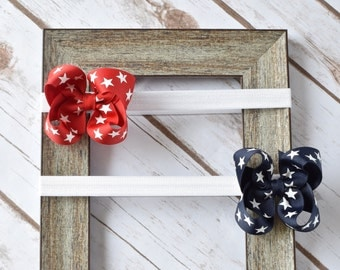 Baby Bow Headband, 4th of July Bows, Bow Headband, Baby Headband, Hair Bows, Girls Hair Bows, Toddler Headband, Baby Bows, Headband,300