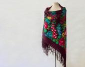 Russian shawl, maroon shawl, burgundy throw, warm wool throw, autumn shawl, bohemian accessory, floral throw, gypsy shawl, dance costume