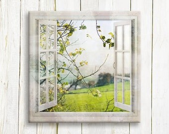 Tree branch in a window view - art print on canvas - housewarming gift
