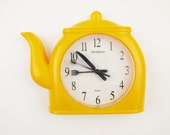 Cuteness!  - Yellow Teapot Clock With Knife, Fork and Spoon Hands - 'Madison' From 1995 - Battery-Operated Plastic Wall Clock
