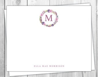 Plum Wreath Stationery Flat Note Cards - Fall Purple Wreath - Set of 12 - Family Stationery - Floral Lavender Autumn