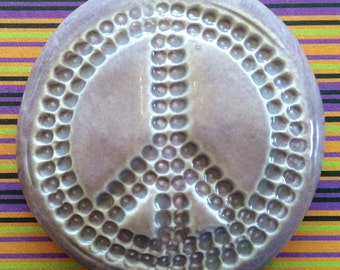 PEACE SIGN Pocket Stone - Ceramic - Heather Moor Art Glaze - Inspirational Art Piece by Inner Art Peace
