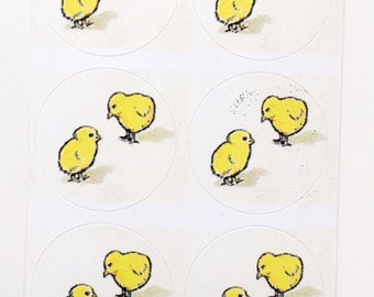 Easter Stickers! Baby Chicks - Vintage 1910 - Stickers (18) FREE SHIPPING